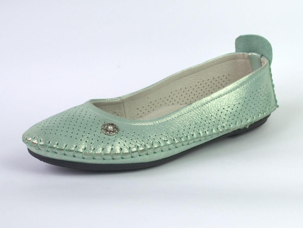 Балетки женские кожаные бирюзовые женская обувь Strache U Turquoise Green Leather by Rosso Avangard BS, фото 1