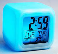 Светящиеся Часы-будильник Хамелеон Кубик, LED Color Change