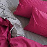 """Семейный комплект постельного белья ТМ """"Ловец снов"""", Однотонный малиновый, фото 3"""