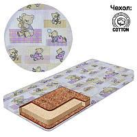 """Матрац кокос - поролон - кокос - хлопок №1 - """"Мишка с шариком на коврику"""" КПК-1 12964 цвет розовый ТМ Беби-Текс"""