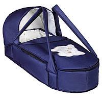 Сумка  переносная  для новорожденных  Синяя с мишкой