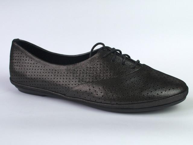 "Балетки летние кожаные черные женская обувь LaCoSe V Black Purple Leather by Rosso Avangard ""Graphite"""