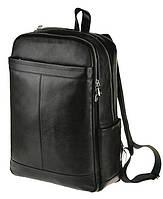 """Рюкзак кожаный для ноутбука 15"""" 15.6""""  2 отделения дышащая спинка черный мужской"""