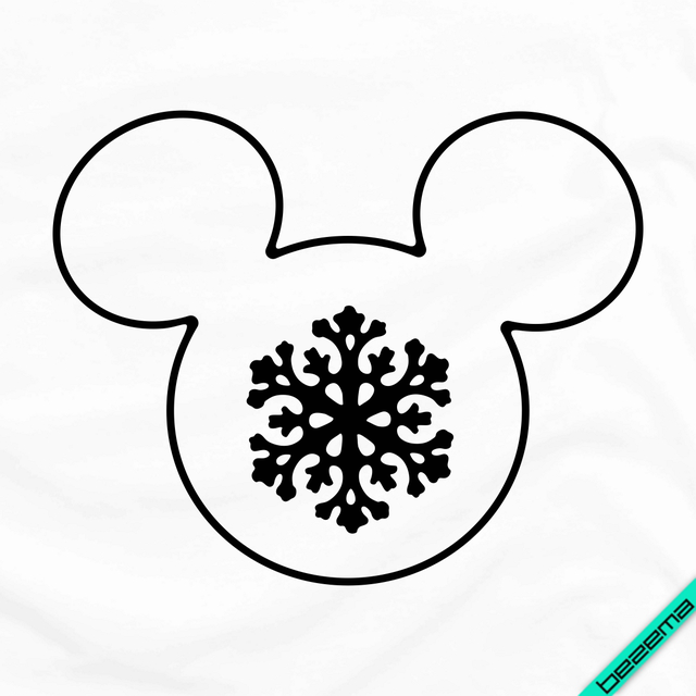 Наклейки на пончо Силуэт Микки со снежинкой [Свой размер и материалы в ассортименте]