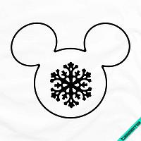 Наклейки на пончо Силуэт Микки со снежинкой [Свой размер и материалы в ассортименте], фото 1
