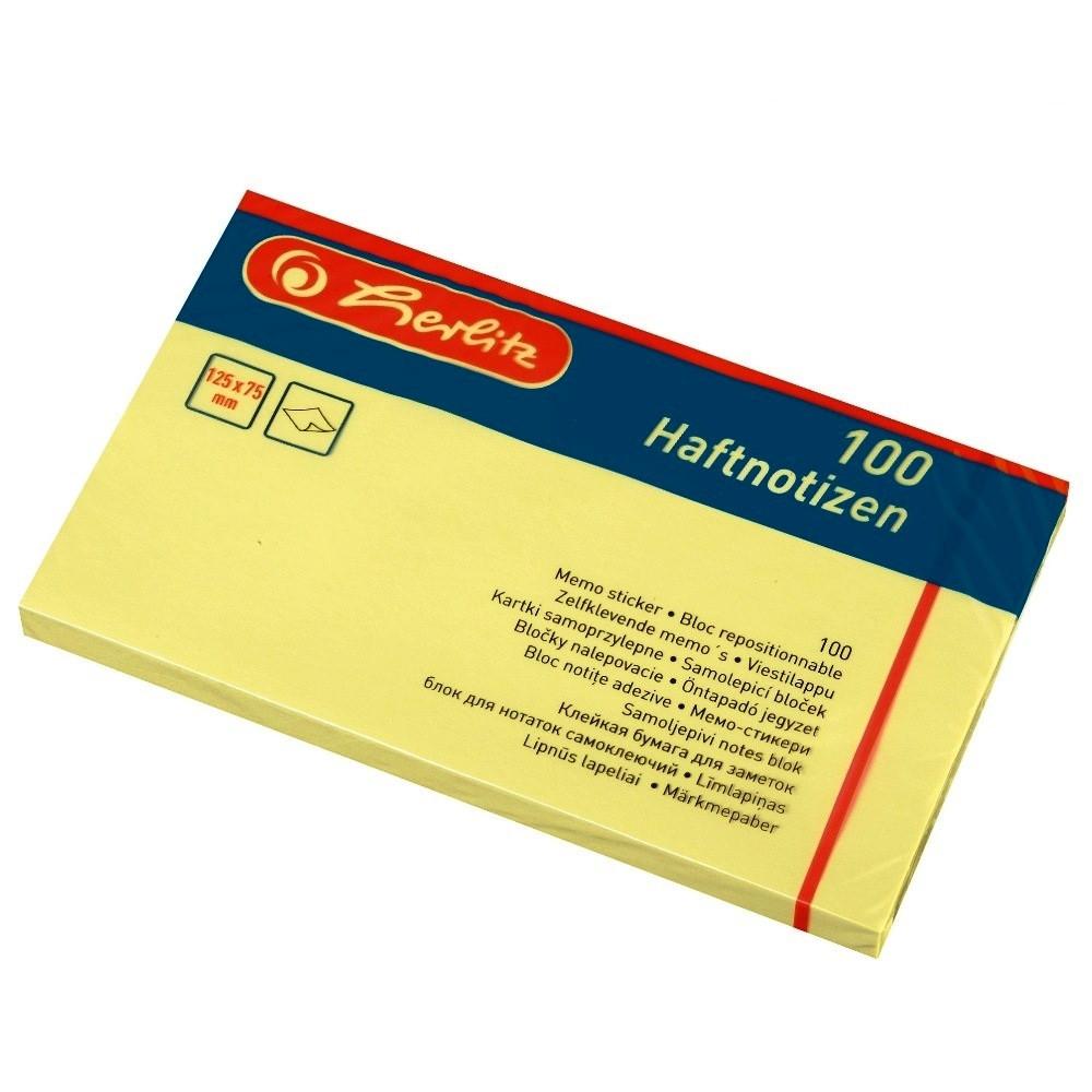 Бумага для заметок с клейким слоем Herlitz 125х75мм 100 листов желтая