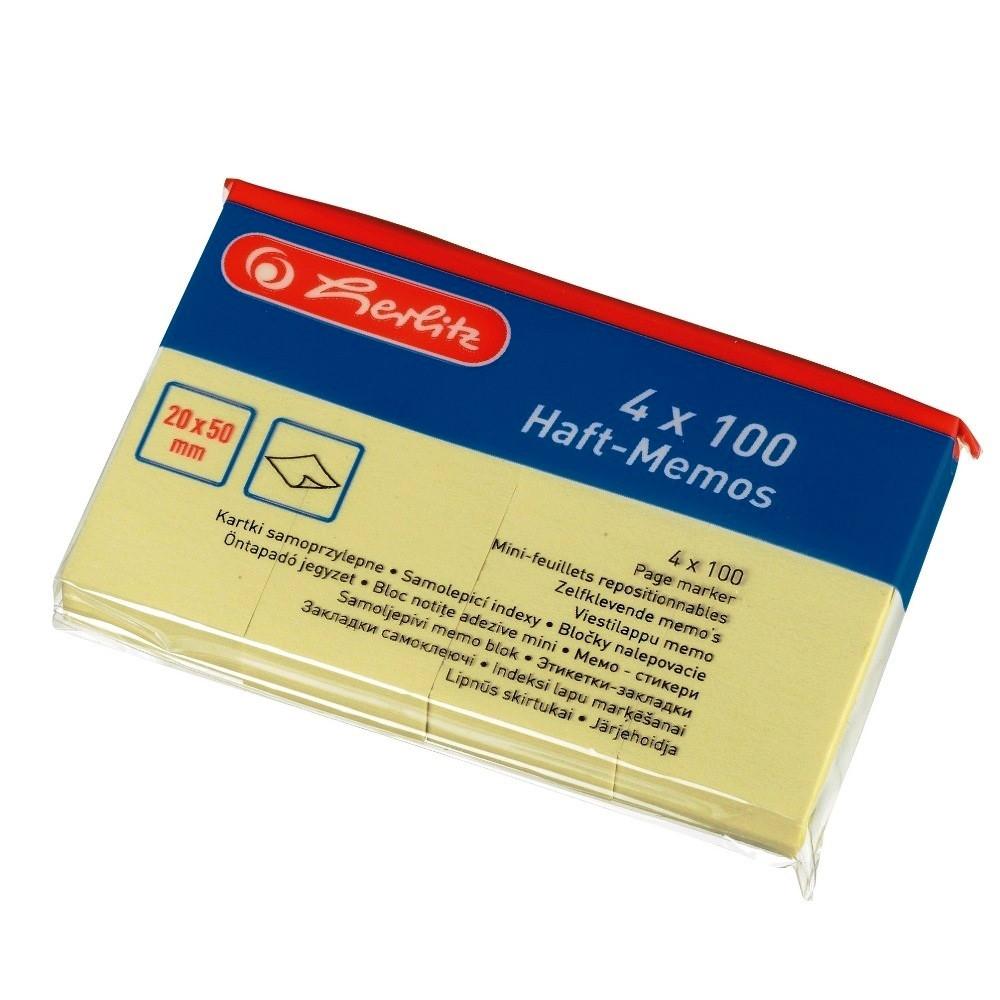 Стикеры-закладки бумажные Herlitz 20х50мм 4х100 листов желтые