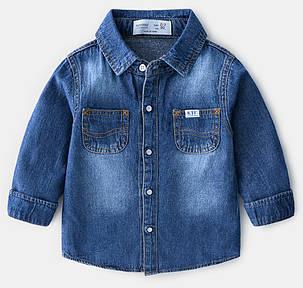 Рубашка джинсовая  на мальчика синяя с карманами  6лет, фото 2