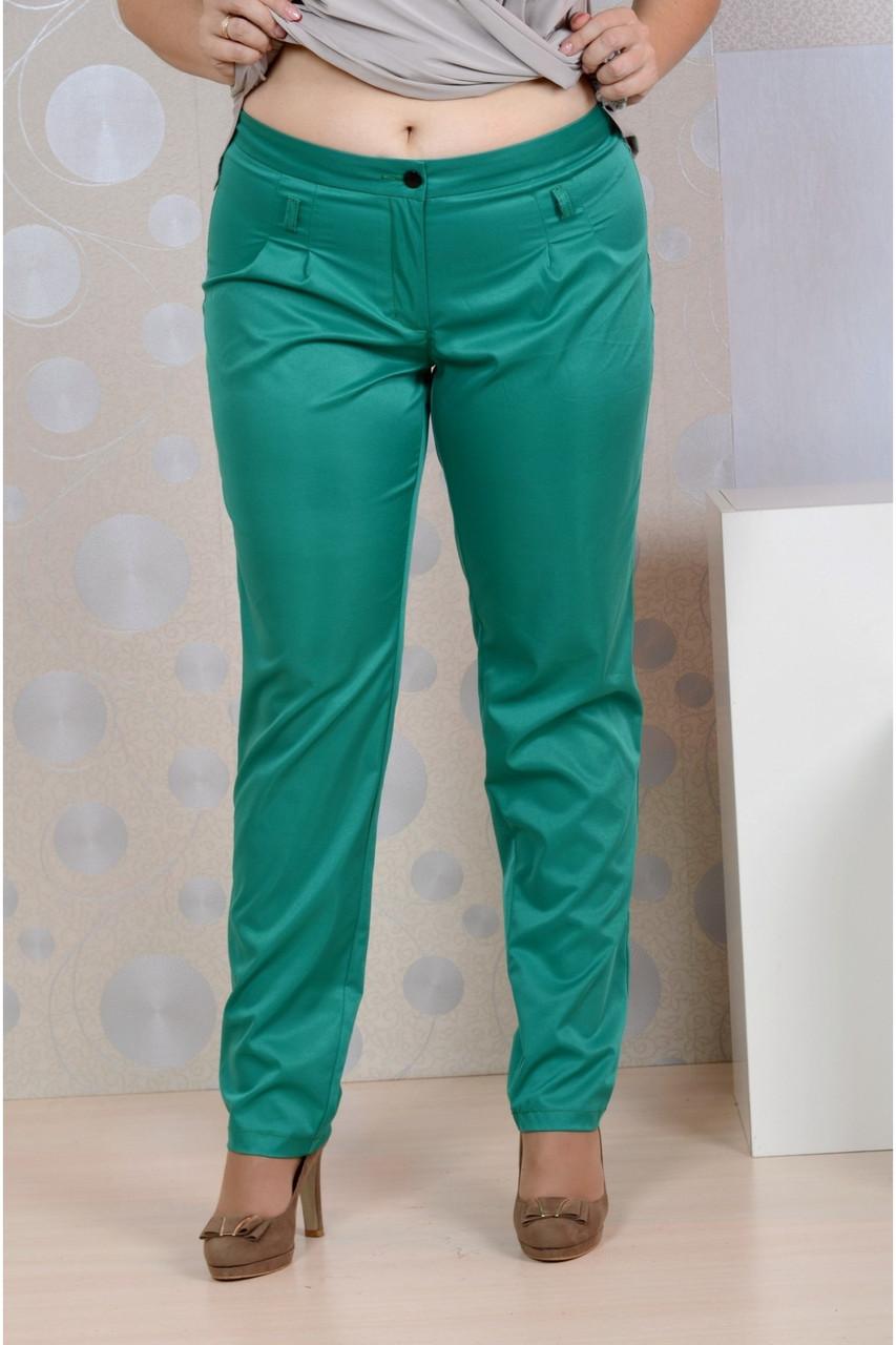 Зеленые брюки женские летние офисные 006-4 большой размер