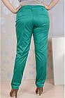Зеленые брюки женские летние офисные 006-4 большой размер, фото 2