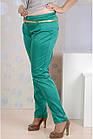 Зеленые брюки женские летние офисные 006-4 большой размер, фото 4