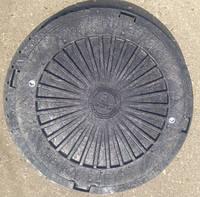 Люк полимерный канализационный, черный, легкий, с запорным устройством, нагрузка 3 т., фото 1