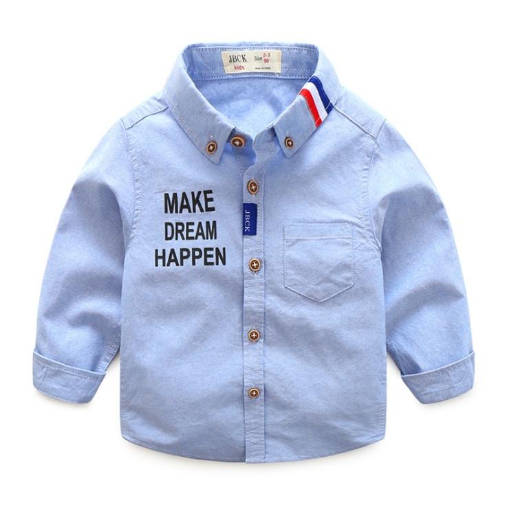 Нарядная хлопковая рубашка на мальчика  голубая с надписью 3-7 лет