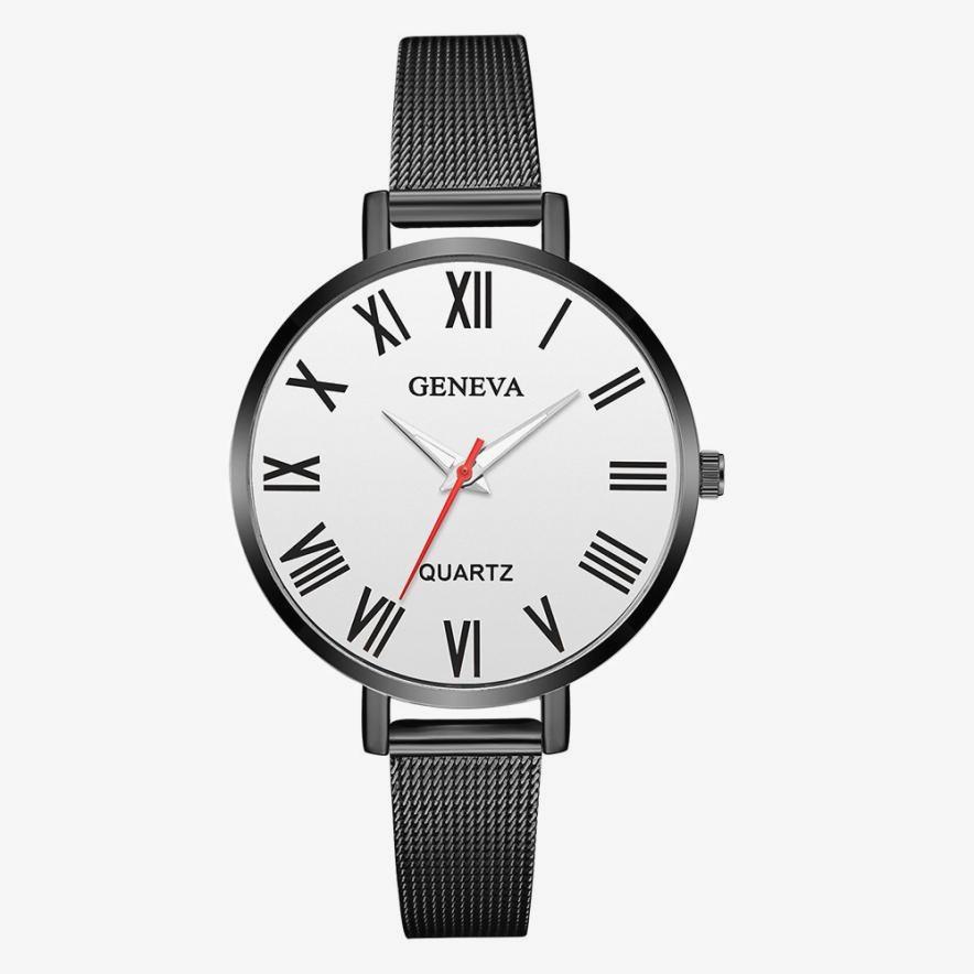 Женские наручные часы Geneva с римским циферблатом и металлическим ремешком.