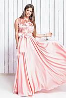 Розовое вечернее платье из атласа с вышивкой на сетке