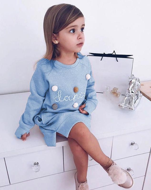 Платье -туника   детское  на девочку голубое с бубончиками и карманами 2-6 лет