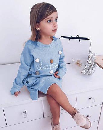 Платье -туника   детское  на девочку голубое с бубончиками и карманами 2-6 лет, фото 2
