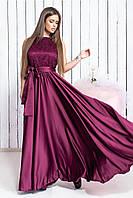 """Вечернее платье из атласа с шикарной вышивкой на сетке """"Аманда"""""""