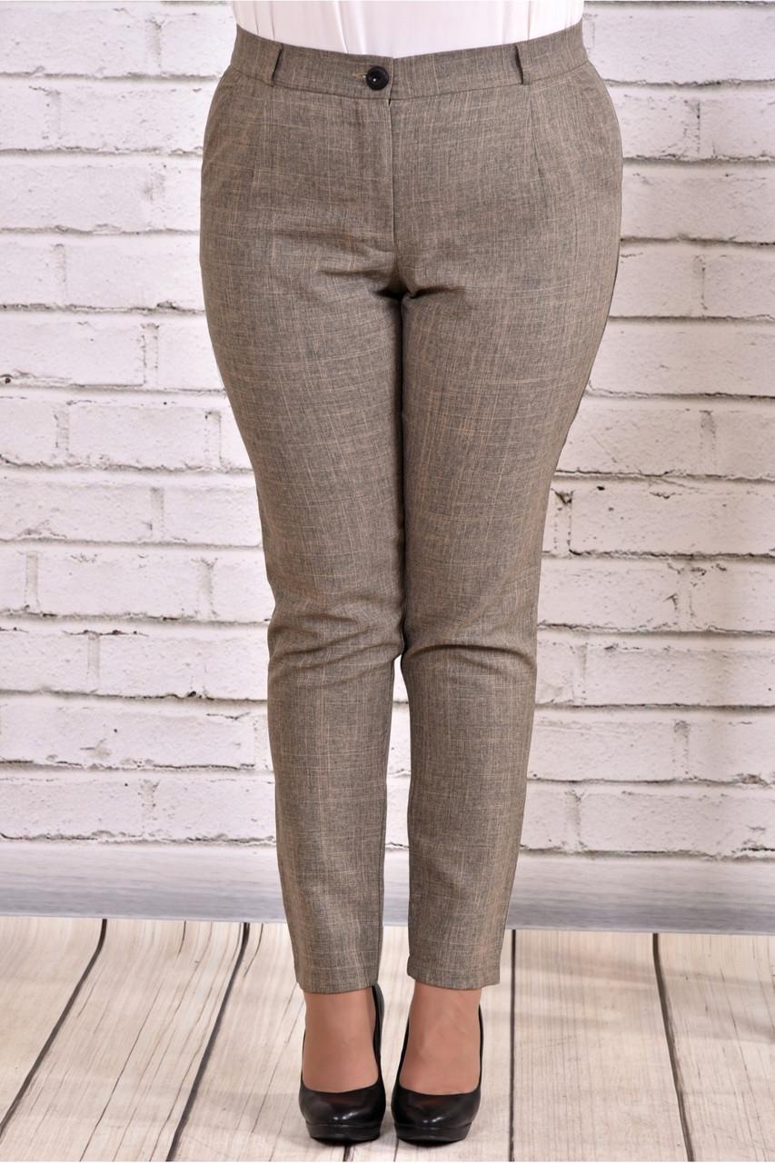 Горчичные брюки женские офисные прямые большой размер b029-2