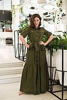 Длинное коттоное платье с пуговицами