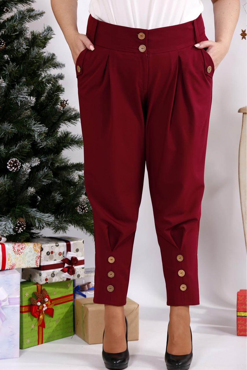 Бордовые брюки свободного кроя | b033-1
