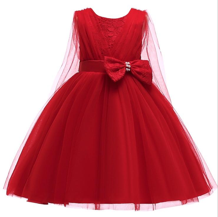 Нарядное детское платье на девочку спереди с  бантом красное 4-7 лет