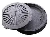 Люк полимерный канализационный, черный, легкий, с запорным устройством, нагрузка 3 т., с внутренней крышкой, фото 1