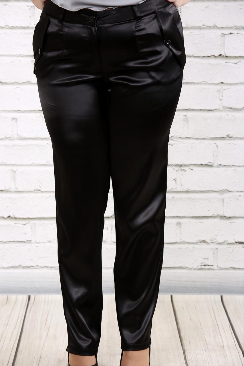 Черные брюки из плотного атласа   b036-1 большой размер
