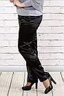 Черные брюки из плотного атласа   b036-1 большой размер, фото 2