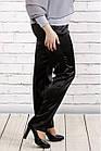 Черные брюки из плотного атласа   b036-1 большой размер, фото 3