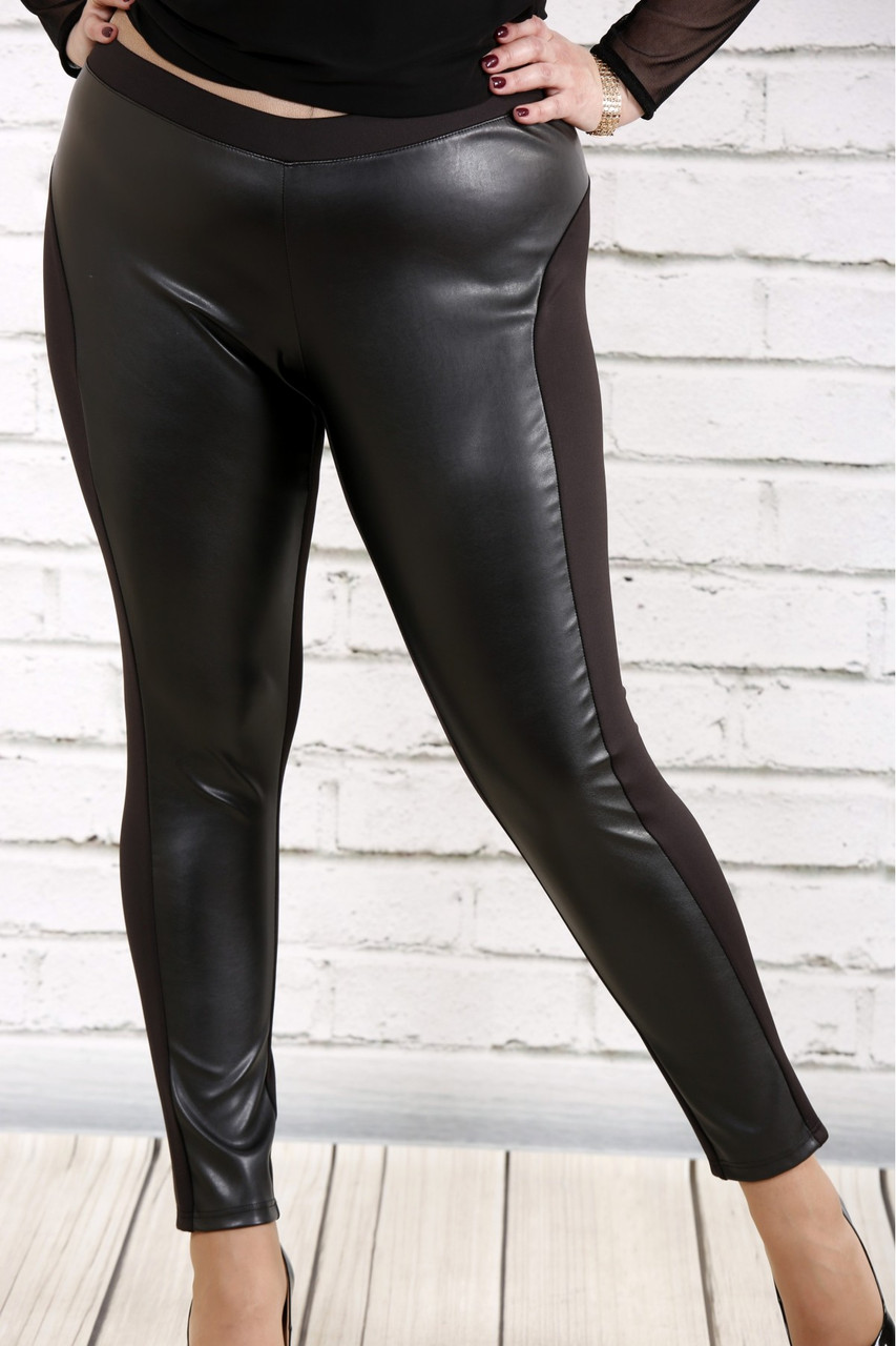 Черные брюки-лосины женские трикотаж с эко-кожей большой размер 42-74. b038-1
