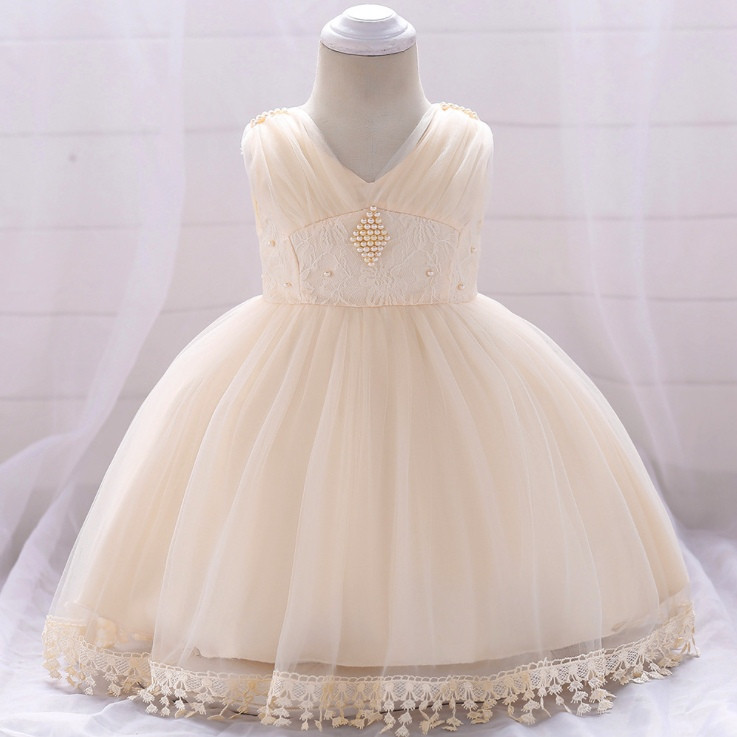 Нарядное детское платье на девочку с бусинами  кремовое 9 мес-2 года