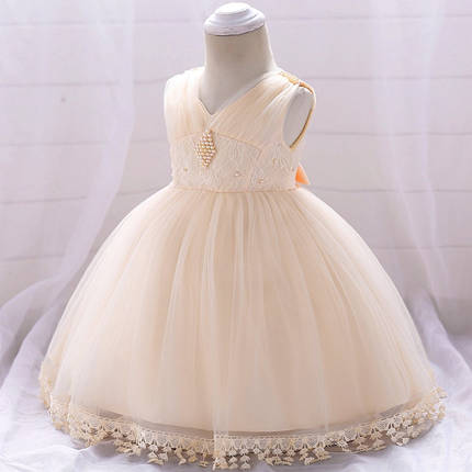 Нарядное детское платье на девочку с бусинами  кремовое 9 мес-2 года, фото 2