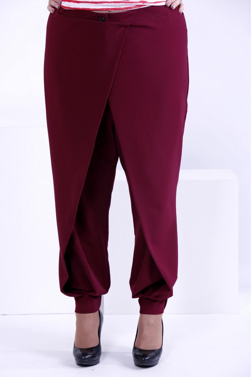 Бордові вільні брюки   b039-1 великий розмір