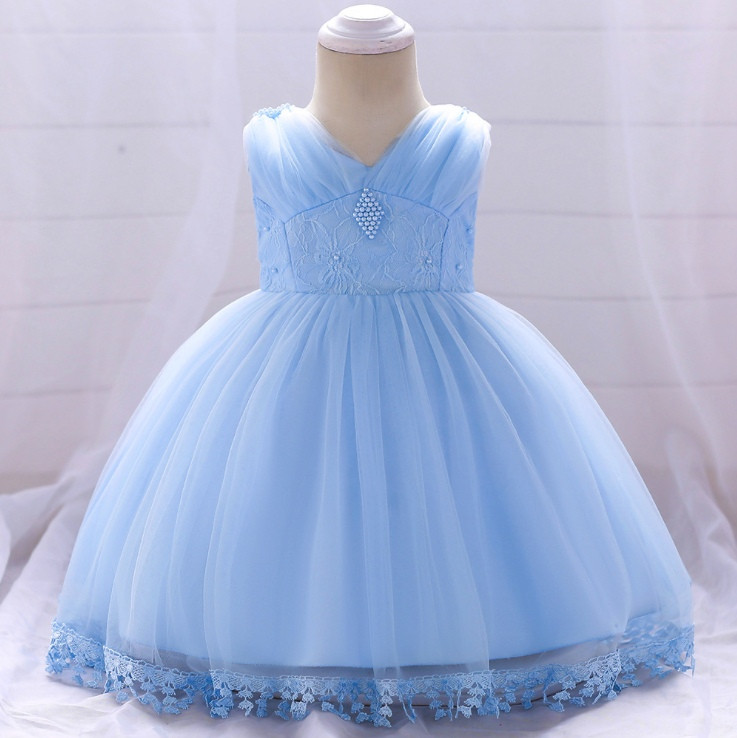 2d168dc9a380253 Нарядное детское платье на девочку с бусинами голубое 9 мес-2 года -  AdelinaStyle Интернет
