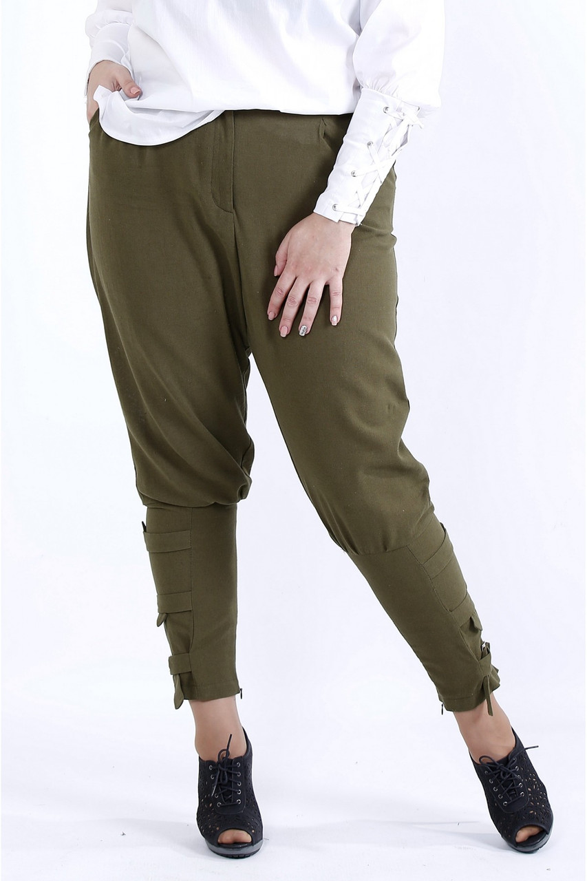 B041-1   Вільні зручні штани хакі великий розмір