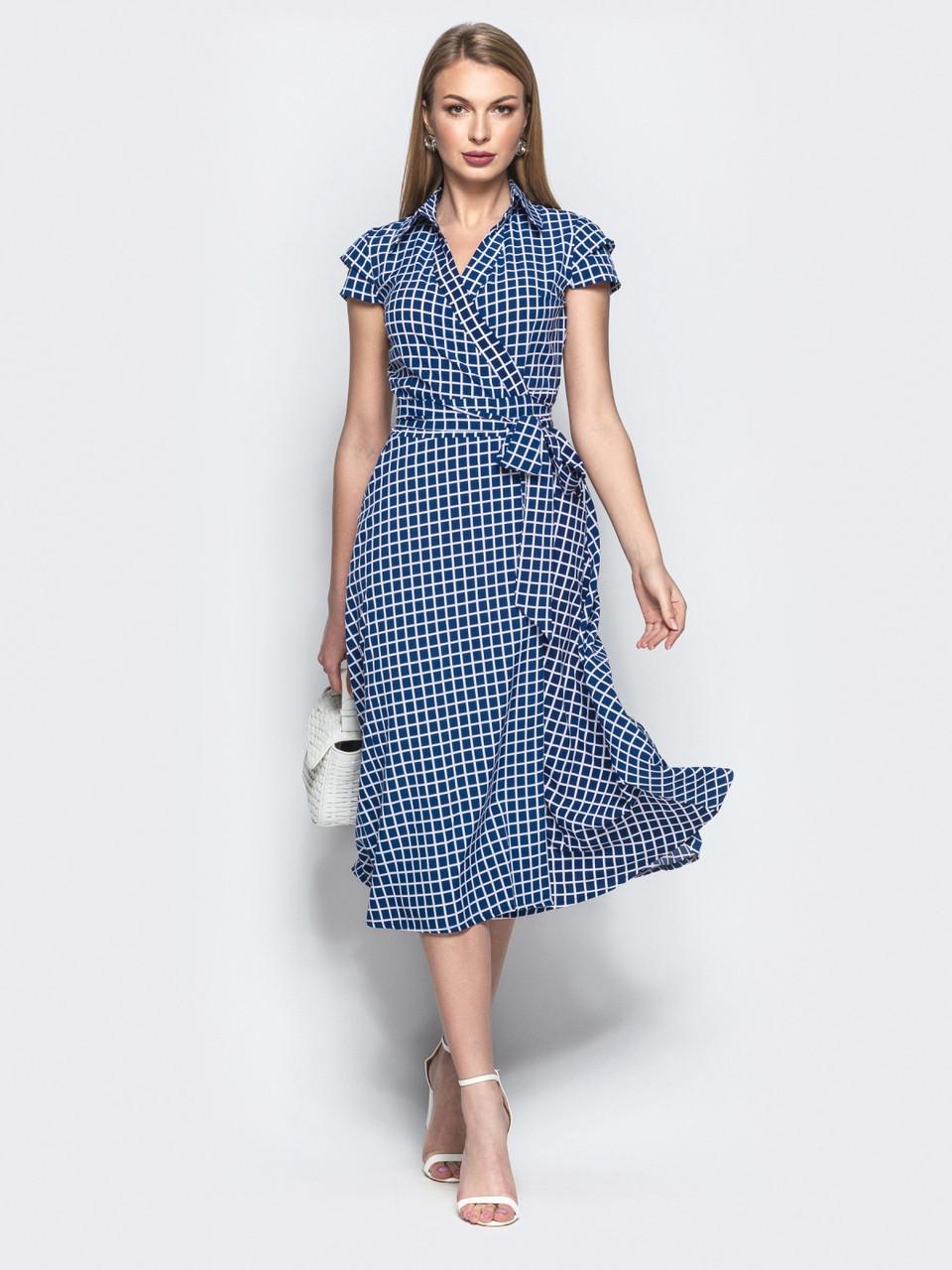 4ce2297e018 Стильное женское платье на запах в клетку р.42