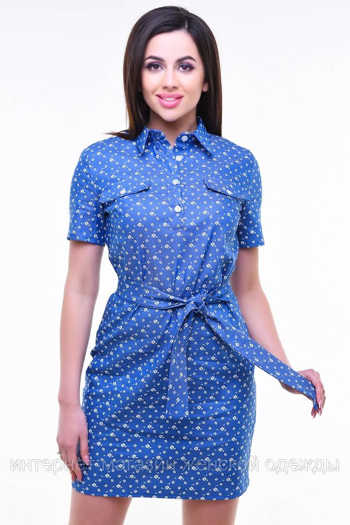 ec819cabd7c Модное платье рубашка с застежкой поло из стрейч-джинса с коротким рукавом в  цветочек -