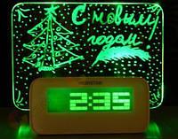 Светящийся LED часы, будильник с доской для записи HIGHSTAR