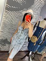 Женский джинсовый голубой сарафан на пуговицах с карманами лето 2019
