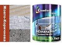 Фарба Жовто-Коричнева ПФ-115 для деревини та металу Комфорт 0.9 кг.