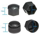 Набір ковпачків на колісні гайки 17 мм з секретними болтами, чорні, фото 7