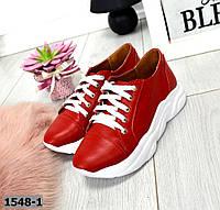 Кроссовки женские красные на платформе, фото 1