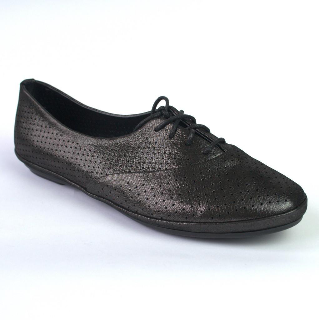 Балетки летние кожаные черные женская обувь большой размер LaCoSe V Black Purple Leather by Rosso Avangard BS