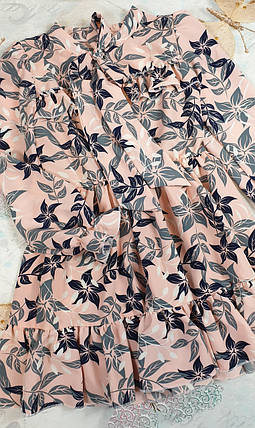 Модное стильное Платье для девочки с рюшем Цветы 134-152 цветы на персиковом, фото 2