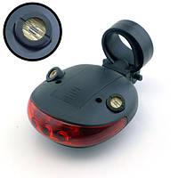 Мигалка задняя фонарь светодиодно-лазерная с двумя лазерами для велосипеда горизонтальная SKU0000028