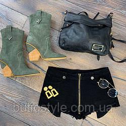 Короткие котоновые черные женские шорты с бахромой на молнии