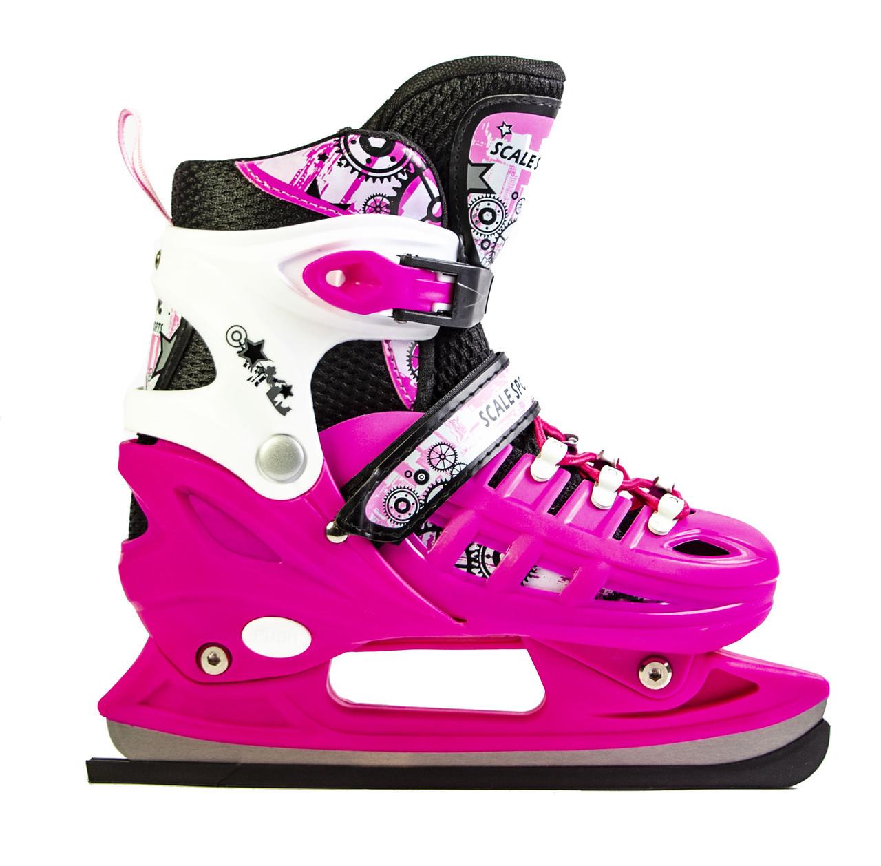 Коньки раздвижные Scale Sport. Pink размер 34-37