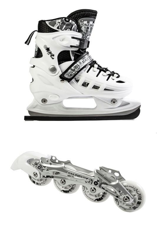 Ролики-коньки Scale Sport. белые (2в1) размер 29-33