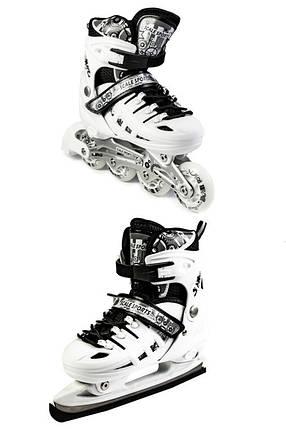 Ролики-коньки Scale Sport. белые (2в1) размер 29-33, фото 2